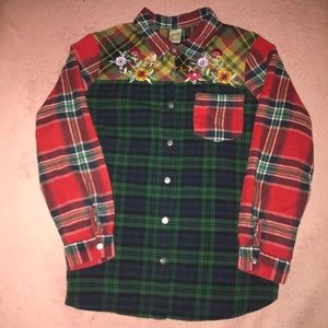 Embroidered Floral Flannel 2X